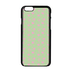 Hearts And Star Dot Green Apple Iphone 6/6s Black Enamel Case by snowwhitegirl