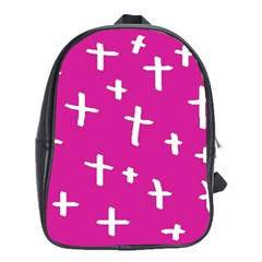 Pink White Cross School Bag (xl) by snowwhitegirl