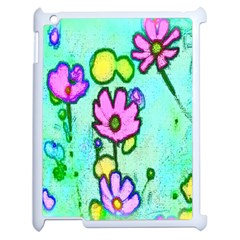 Pink Flowers On Pale Green Pattern Apple Ipad 2 Case (white) by bywhacky