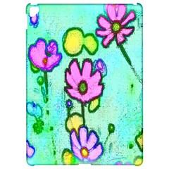 Pink Flowers On Pale Green Pattern Apple Ipad Pro 12 9   Hardshell Case by bywhacky