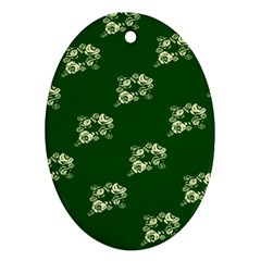 Canal Flowers Cream On Green Bywhacky Oval Ornament (two Sides) by bywhacky