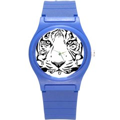 Tiger Pattern Animal Design Flat Round Plastic Sport Watch (s) by Simbadda