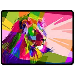 Animal Colorful Decoration Lion Fleece Blanket (large)  by Simbadda