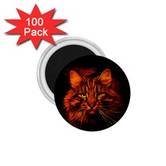 Cat Digiart Artistically Cute 1 75  Magnets (100 Pack)  by Simbadda