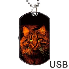 Cat Digiart Artistically Cute Dog Tag Usb Flash (two Sides) by Simbadda