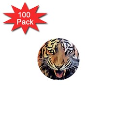Tiger Animal Teeth Nature Design 1  Mini Magnets (100 Pack)  by Simbadda