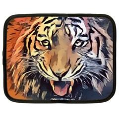 Tiger Animal Teeth Nature Design Netbook Case (xl)  by Simbadda
