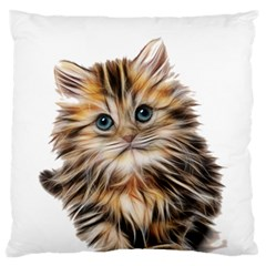 Kitten Mammal Animal Young Cat Large Flano Cushion Case (one Side) by Simbadda