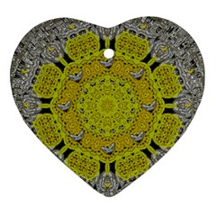 Sunshine And Silver Hearts In Love Heart Ornament (two Sides) by pepitasart