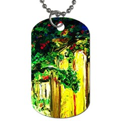Old Tree And House With An Arch 2 Dog Tag (one Side) by bestdesignintheworld