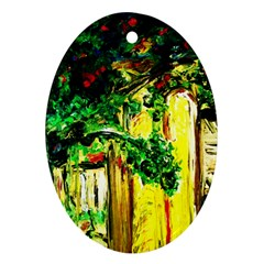 Old Tree And House With An Arch 2 Oval Ornament (two Sides) by bestdesignintheworld