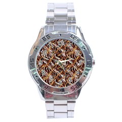 Colorful Wavy Abstract Pattern Stainless Steel Analogue Watch by dflcprints