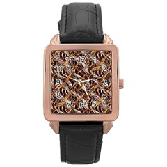 Colorful Wavy Abstract Pattern Rose Gold Leather Watch  by dflcprints