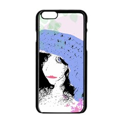 Girl With Hat Apple Iphone 6/6s Black Enamel Case by snowwhitegirl