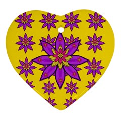Fantasy Big Flowers In The Happy Jungle Of Love Ornament (heart) by pepitasart