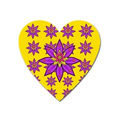 Fantasy Big Flowers In The Happy Jungle Of Love Heart Magnet