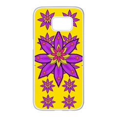 Fantasy Big Flowers In The Happy Jungle Of Love Samsung Galaxy S7 Edge White Seamless Case by pepitasart