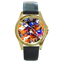 Smashed Butterfly Round Gold Metal Watch by bestdesignintheworld