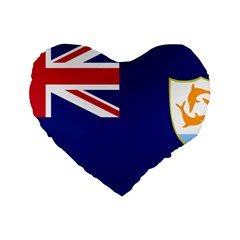 Flag Of Anguilla Standard 16  Premium Flano Heart Shape Cushions by abbeyz71