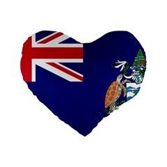 Flag Of Ascension Island Standard 16  Premium Flano Heart Shape Cushions by abbeyz71