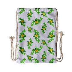 Airy Floral Pattern Drawstring Bag (small) by dflcprints