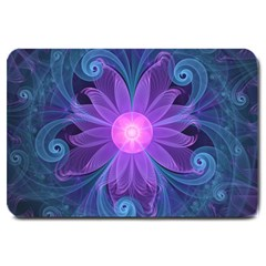 Blown Glass Flower Of An Electricblue Fractal Iris Large Doormat  by jayaprime