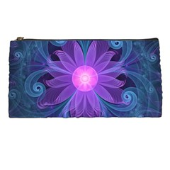Blown Glass Flower Of An Electricblue Fractal Iris Pencil Cases by jayaprime