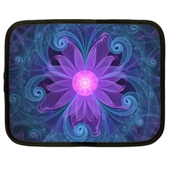 Blown Glass Flower Of An Electricblue Fractal Iris Netbook Case (xxl)  by jayaprime