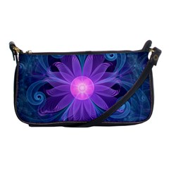 Blown Glass Flower Of An Electricblue Fractal Iris Shoulder Clutch Bags by jayaprime