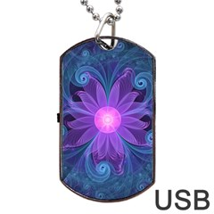 Blown Glass Flower Of An Electricblue Fractal Iris Dog Tag Usb Flash (one Side) by jayaprime