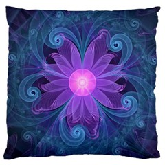 Blown Glass Flower Of An Electricblue Fractal Iris Large Cushion Case (one Side) by jayaprime
