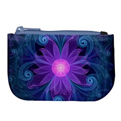 Blown Glass Flower Of An Electricblue Fractal Iris Large Coin Purse by jayaprime