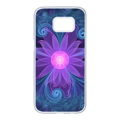 Blown Glass Flower Of An Electricblue Fractal Iris Samsung Galaxy S7 Edge White Seamless Case by jayaprime