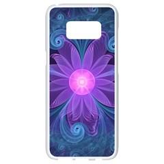 Blown Glass Flower Of An Electricblue Fractal Iris Samsung Galaxy S8 White Seamless Case by jayaprime