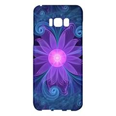 Blown Glass Flower Of An Electricblue Fractal Iris Samsung Galaxy S8 Plus Hardshell Case  by jayaprime
