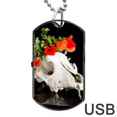 Animal Skull With A Wreath Of Wild Flower Dog Tag Usb Flash (two Sides) by igorsin