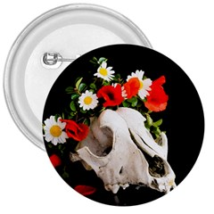 Animal Skull With A Wreath Of Wild Flower 3  Buttons by igorsin