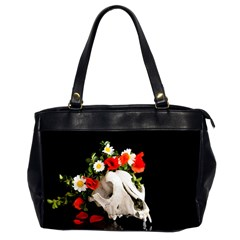Animal Skull With A Wreath Of Wild Flower Office Handbags (2 Sides)  by igorsin