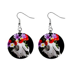 Animal Skull With A Wreath Of Wild Flower Mini Button Earrings by igorsin