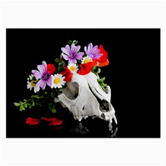 Animal Skull With A Wreath Of Wild Flower Large Glasses Cloth (2 Side) by igorsin