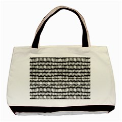 Abstract Wavy Black And White Pattern Basic Tote Bag (two Sides) by dflcprints