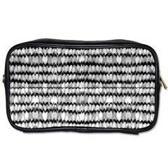 Abstract Wavy Black And White Pattern Toiletries Bags 2 Side
