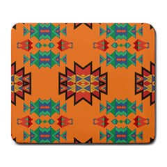 Misc Shapes On An Orange Background                                    Large Mousepad by LalyLauraFLM