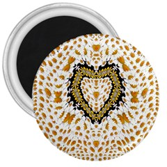 Hearts In A Field Of Fantasy Flowers In Bloom 3  Magnets by pepitasart