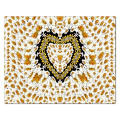 Hearts In A Field Of Fantasy Flowers In Bloom Rectangular Jigsaw Puzzl by pepitasart