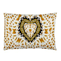 Hearts In A Field Of Fantasy Flowers In Bloom Pillow Case by pepitasart