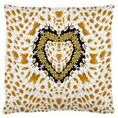 Hearts In A Field Of Fantasy Flowers In Bloom Large Cushion Case (one Side) by pepitasart