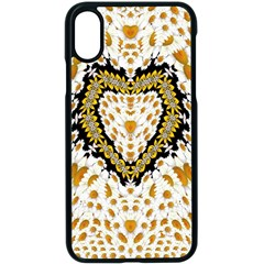 Hearts In A Field Of Fantasy Flowers In Bloom Apple Iphone X Seamless Case (black) by pepitasart