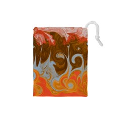Fire And Water Drawstring Pouches (small)  by digitaldivadesigns