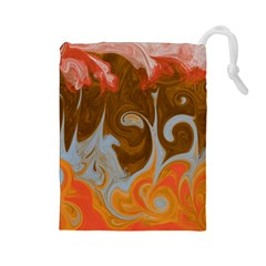 Fire And Water Drawstring Pouches (large)  by digitaldivadesigns